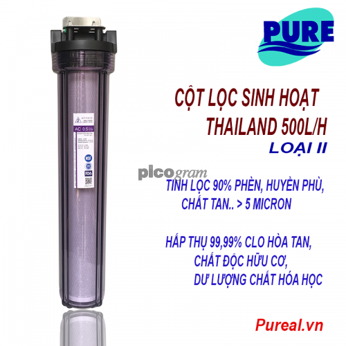 Cột lọc nước sinh hoạt 500l/h (Vỏ ly Taiwan I)