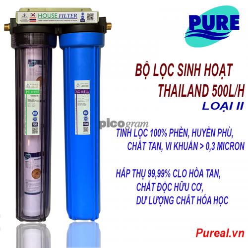 Bô lọc nước sinh hoạt 2 bước 500l/h (vỏ ly Taiwan I)